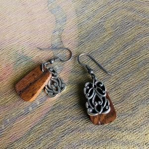 Brighton Earrings, Silver and Wood, EUC